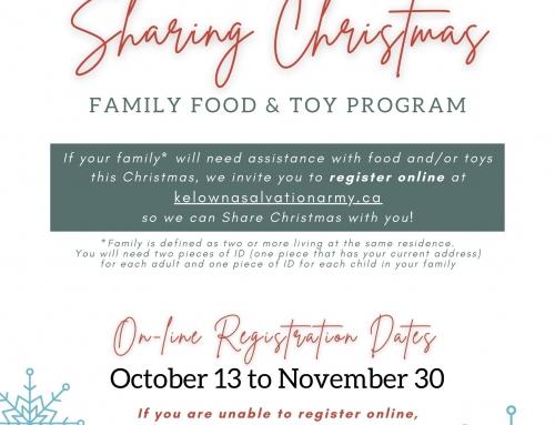 LAST CHANCE Registration – Sharing Christmas Program